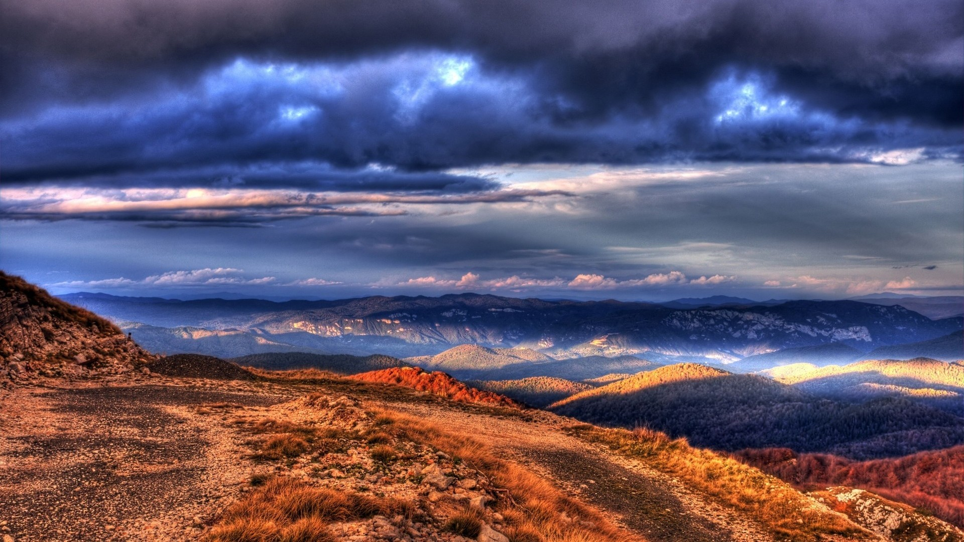 1920x1080 Download Wallpaper 1920x1080 Mountains, Evening, Clouds, Colors Full HD 1080p HD Background