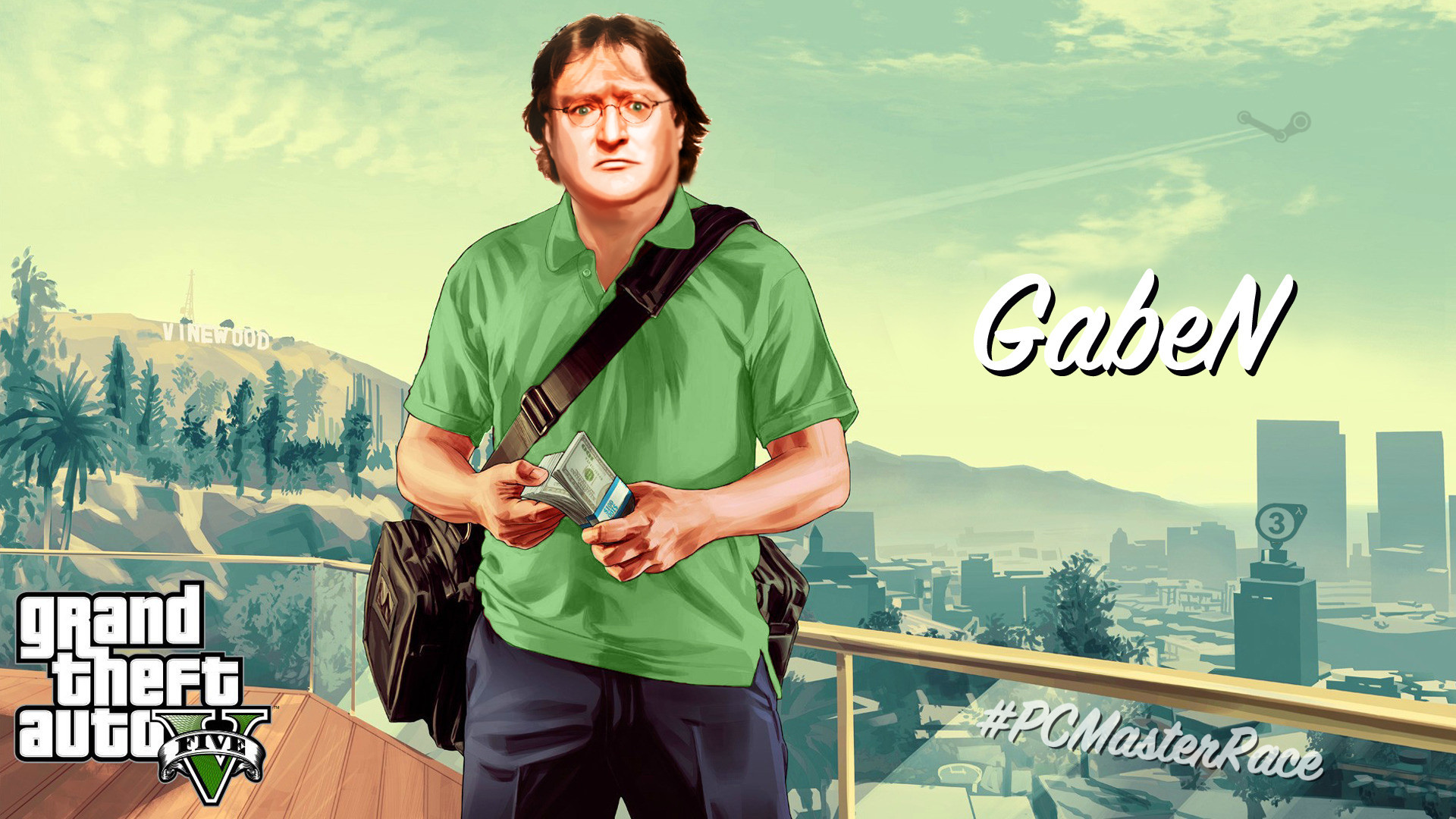 1920x1080 I Made A Glorious GabeN GTA 5 Wallpaper For All Of You