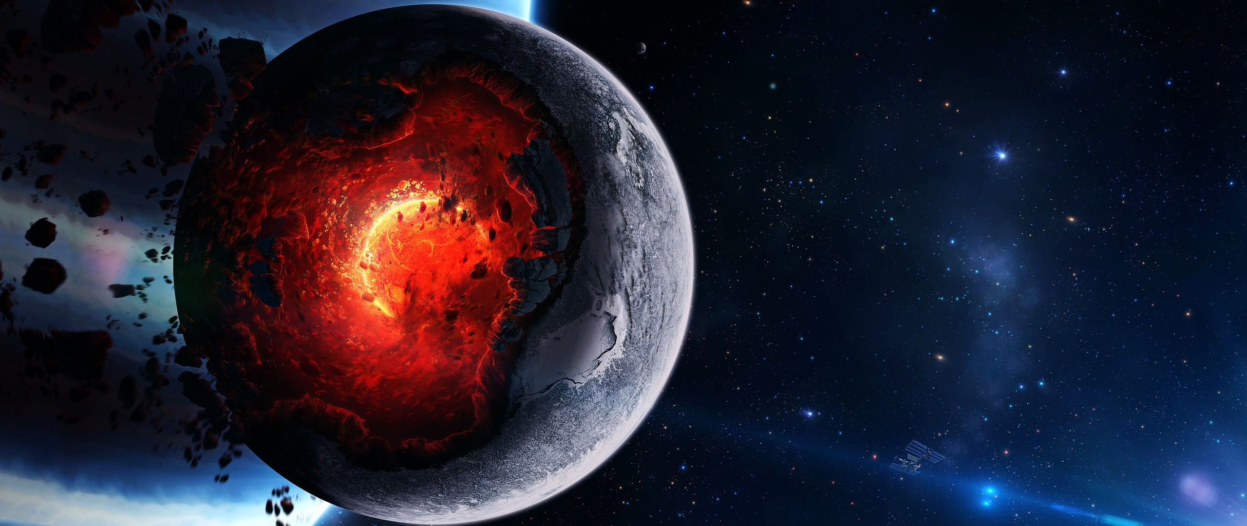 2560x1080 Preview Wallpaper Space Cataclysm Planet Art Explosion Asteroids Comets